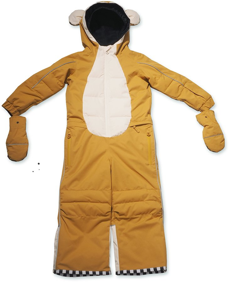 WeeDo Monkey Snow Suit & Mitts Kids Insulated Snow Onesie, 6-8 Years