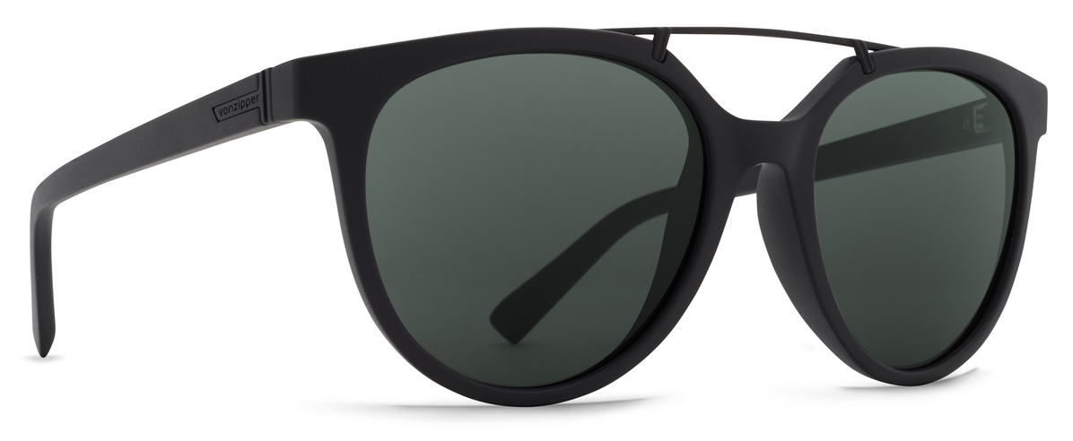 Von Zipper Hitsville Vintage Grey Lens Sunglasses, Black Satin