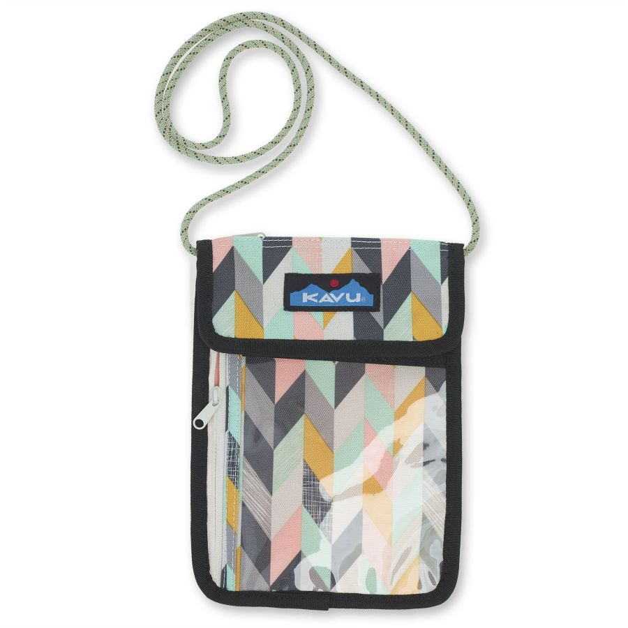 Kavu Keepitclose Neck Wallet/Passport Holder Chevron Sketch