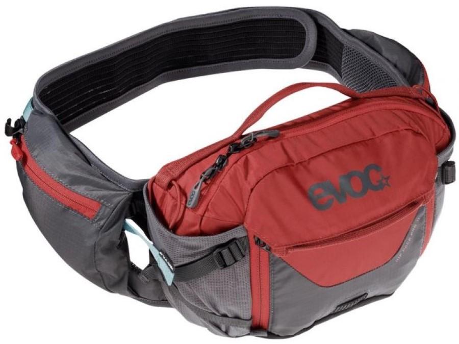 Evoc Hip Pack Pro + Hydration Bladder Waist Pack, 3L Carbon/Chili