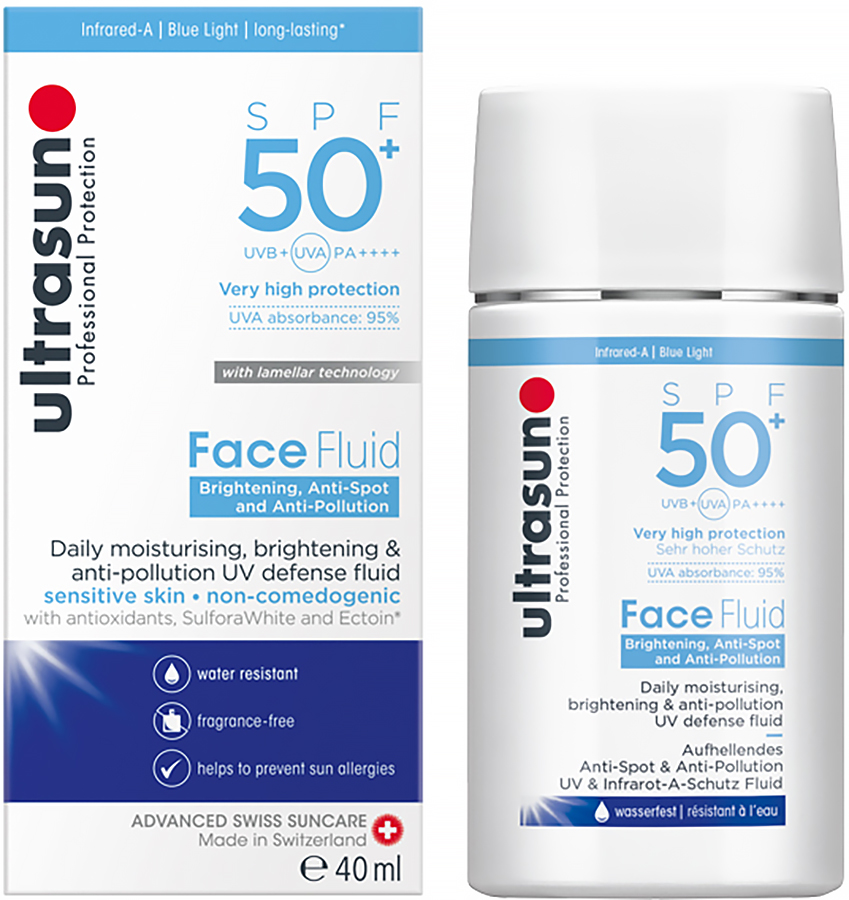 Ultrasun Face Fluid Sunscreen SPF 50+ Anti-Pollution Lotion, 40ml