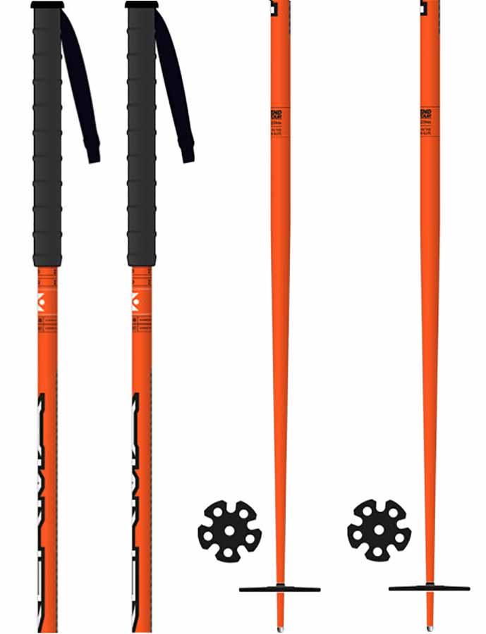 Kerma Legend Tour Ski Poles, 120cm Black/Orange