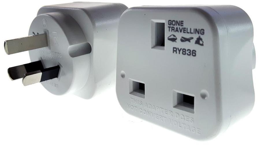 Gone Travelling 2-Pack Australia & China Travel Adaptor/Plug, White