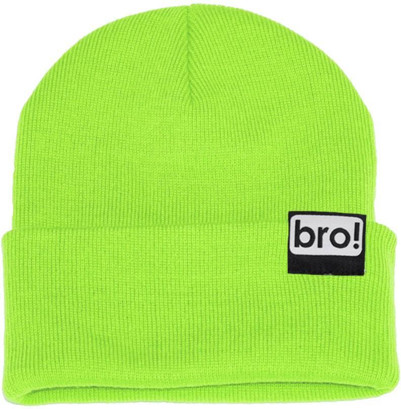 bro! Bro! Ski/Snowboard Cuffed Beanie Hat, Neon