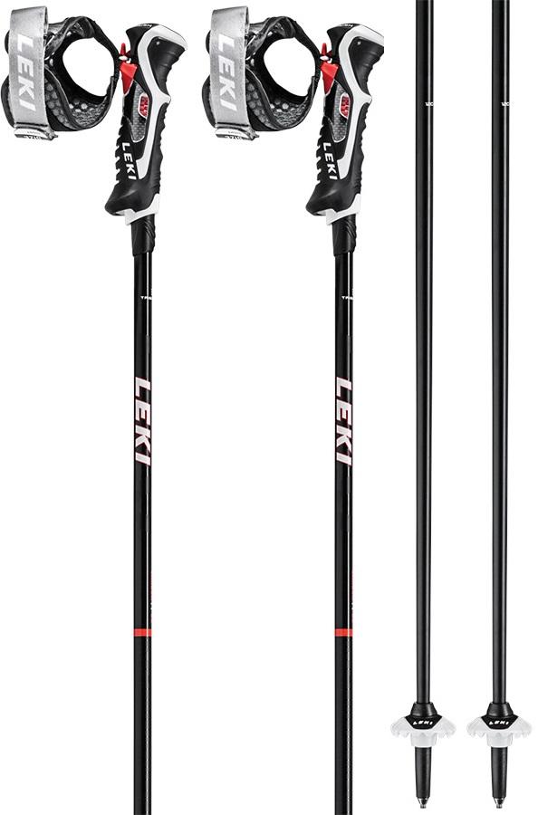 Leki Carbon 14 3D Slalom Grip Ski Poles, 115cm Black/Red/White