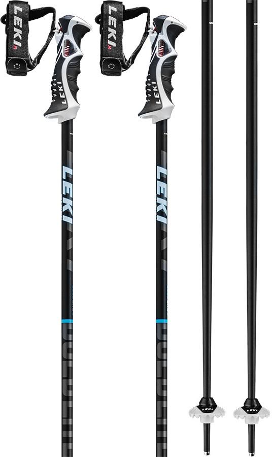 Leki Bold Lite S Slalom Grip Ski Poles, 120cm Black/Sapphire/White